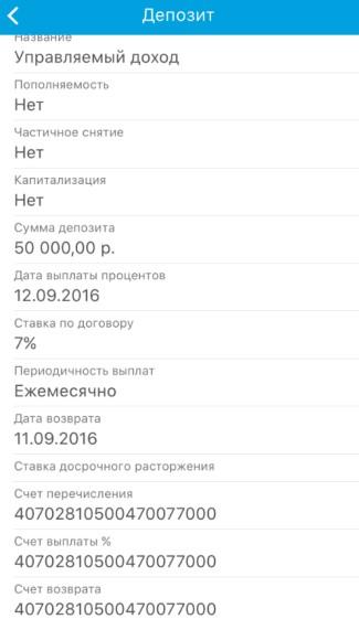 Информация о выбранном депозите
